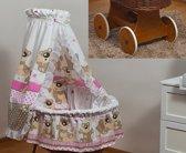 Rotan baby wiegje - Incl. beddengoedset, hemel met sluier, onderstel met wieltjes - 100% katoen - teddybeer beige