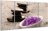 Glasschilderij Spa | Paars, Grijs, Zwart | 160x80cm 4Luik | Foto print op Glas |  F004516