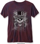 Guns N' Roses - Faded Skull heren unisex burn out T-shirt two tone rood/blauw - XL