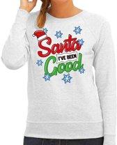 Foute kersttrui / sweater  Santa I have been good grijs voor dames - kerstkleding / christmas outfit XL (42)