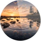 ZONSONDERGANG | Wanddecoratie | 90CM x 90CM | Schilderij | Foto op plexiglas | natuur | Landschappen