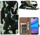Ntech Huawei P30 Camouflage Boek hoesje met Pasjesruimte