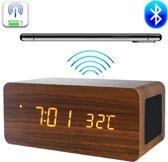 Houten wekker | Houten Qi-charger | Houten Bluetooth speaker| Houten klok - Bruin | Draadl