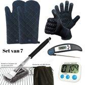 Set van 2 BBQ Handschoenen (Kevlar-Aramide), 2 Canvas Ovenwanten, 1 BBQ Borstel met Schraper, 1 Zwarte Inklapbare Kookthermometer en 1 Digitale Kookwekker