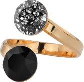 ARLIZI 0981 Ring Swarovski Kristal - Dames - 925 Zilver Roséverguld - 8 mm - Zwart
