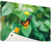 Vlinder op bloem Tuinposter 200x100 cm - Tuindoek / Buitencanvas / Schilderijen voor buiten (tuin decoratie) XXL / Groot formaat!