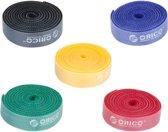 Orico - Herbruikbare Kabelbinders - Multicolor set van 5 - In de kleuren blauw, rood, zwart, geel en groen - 1M lang per stuk - In te korten