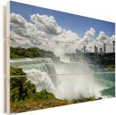 Mooie witte wolken boven de Niagarawatervallen Vurenhout met planken 30x20 cm - klein - Foto print op Hout (Wanddecoratie)