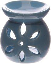 Blauw Keramiek Oliebrander met uitgesneden bloemblad, 7.5cm