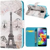 Grey Paris wallet case hoesje Samsung Galaxy S5 Mini