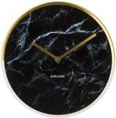 Karlsson Marble Delight - Wandklok - Metaal - Goud - Ø30cm - Zwart