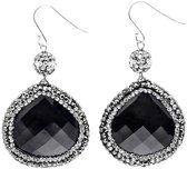 Edelstenen oorbel Bright Black Cat's Eye