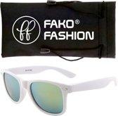 Fako Fashion® - Zonnebril - Wayfarer - Wit - Spiegel Groen