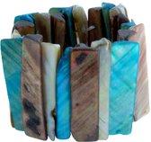 Behave schelpen armband blauw 14.5 cm