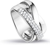 Silventi 943282338 58 Zilveren Ring - met Zirkonia - Pavé - 6 mm - Zilverkleurig