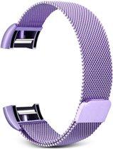 Fitbit Charge 2 Luxe Milanees bandje  Licht Paars / Light Purple  Premium kwaliteit   Maat: M/L   RVS  TrendParts