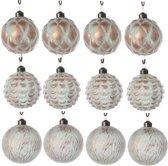 Glas Kerstballen Relief (8cm) Box 12 Stuks Turquoise Bronze