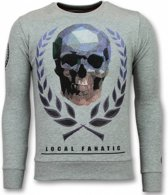 Local Fanatic Doodskop Trui - Skull Rhinestone Sweater Heren - Grijs - Maten: S