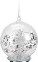 Glazen kerstbal 8 cm met kerstboom en LED verlichting