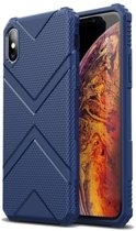 Teleplus iPhone XS Max Case Defense Impact Protected Tank Silicone Navy Blue + Nano Screen Protector hoesje