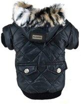 Honden jas - Winterjas voor honden - Winter jas - Gevoerde hondenjas met capuchon - Maat L - Zwart