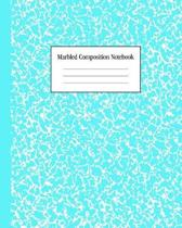 Marbled Composition Notebook: Bright Teal - College Ruled Notebook - 100 Pages - 8 x 10 - Journal for Children, Kids, Girls, Teens And Women (School