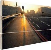 De Westminster brug bij zonsopgang Hout 30x20 cm - klein - Foto print op Hout (Wanddecoratie)