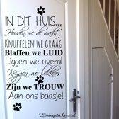 Muursticker In dit huis hond...