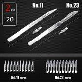 Vlijmscherpe scalpel - set nr 11 + 23 - met 20 mesjes - hobby mesjes