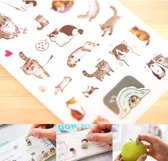 Kawaii stickers met katten - 6 vel - Leuk voor scrapbooking, agenda's en bullet journal. Kat/poes stickertjes