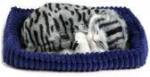 Pluche slapende kat grijs