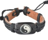 Fako Bijoux® - Armband - Leder - Plate Yin Yang