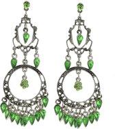 Vintage oorhanger zilver-kleur met groene details