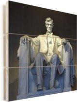 Zonnestraal op het Lincoln Memorial Vurenhout met planken 80x80 cm - Foto print op Hout (Wanddecoratie)