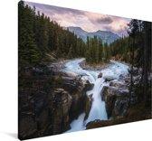 Waterval in het Nationaal park Jasper in Noord-Amerika Canvas 30x20 cm - klein - Foto print op Canvas schilderij (Wanddecoratie woonkamer / slaapkamer)