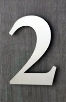Huisnummers RVS. Hoogte 15 cm. Geborsteld. Huisnummer 2. 5 jaar garantie.