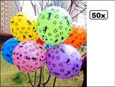 50x Ballonnen voetbal assortie kleur