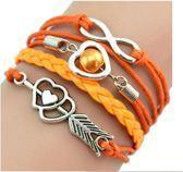 16 - Gevlochten textiel armband oranje - armband infinity - armband parel - armband hartjes - oranje armband - Tibri