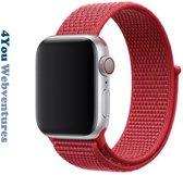 """Vol Rode Horloge Band voor Apple Watch 1, 2, 3, 4, 5 en Nike+, 38mm & 40mm """"Vrouwenbreedte"""" Series - Zacht Geweven Nylon - 38 mm en 40 mm - Rood - 4You Webventures"""