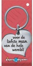 RVS Hart Sleutelhanger - Voor de liefste man van de hele wereld!