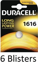 6 Stuks (6 Blisters a 1 st) Duracell CR1616 3V Single-use battery Lithium