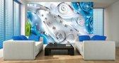 Fotobehang Design, Rozen   Zilver, Blauw   152,5x104cm