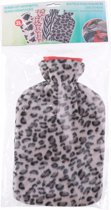 Water kruik met fleece hoes luipaard print grijs 2 liter