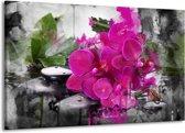 Canvas schilderij Orchidee   Paars, Groen, Grijs   140x90cm 1Luik