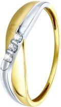 Lucardi - Diamond Luxury - 14 Karaat bicolor ring met diamant
