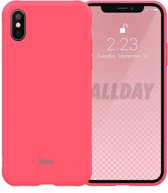 Roar iPhone XS Max Case Jelly Silicone Case Pink + Nano Screen Protector hoesje