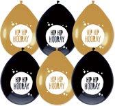 """Ballonnen Festive Gold """" Hip Hip Hooray """" (6ST)"""