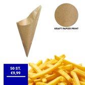 Kraft Papieren Frietzak | 50 stuks | Patatzak | Biologisch | Frietzakken | Puntzakken | Frietzakjes