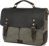 "Line Awesome Aktetas Briefcase Canvas & Leer 13"" Olive"