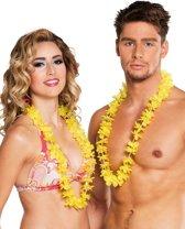 25 gele Hawaii kettingen - Verkleedattribuut